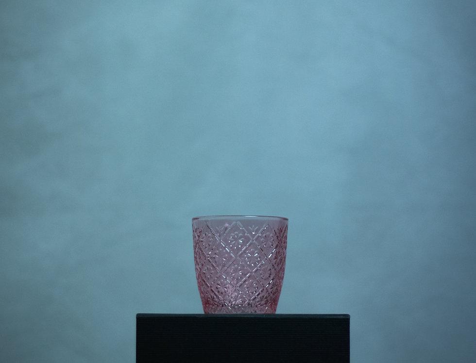 Pink Floral Textured Glass Tea Light Holder