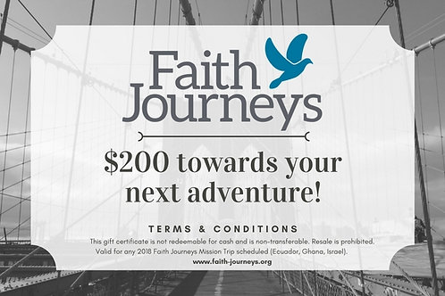 Faith Journeys Gift Certificate