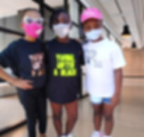African american girls in masks