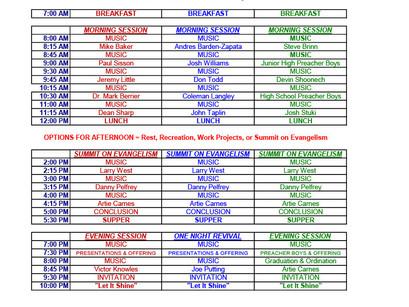 Kiamichi Men's Clinic (Work Week) Schedule of Events