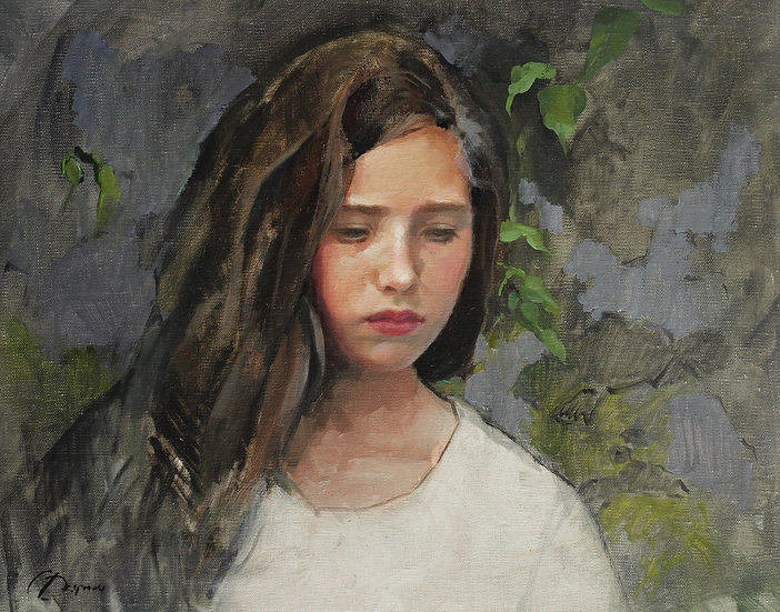 Girl in Thought and Leaves