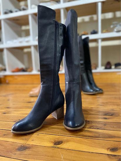 Navy Heel Tall Boots