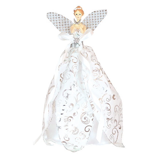 Cream Ballerina Holding Butterfly Tree Topper