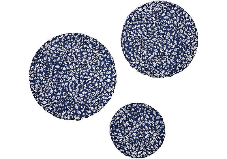 Navy Flowers 3pk Stretch Bowl Cover