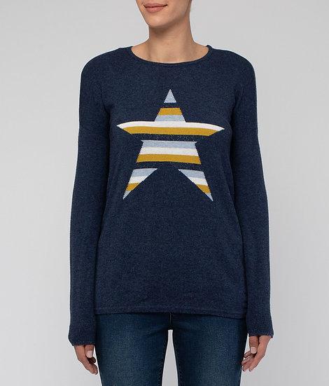Indigo Stripe Star Pullover