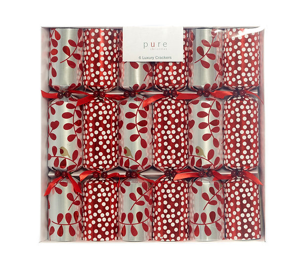 Set/6 Luxury Red Christmas Cracker