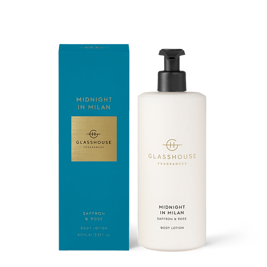 Glasshouse Body Lotion, Midnight in Milan - Saffron & Rose