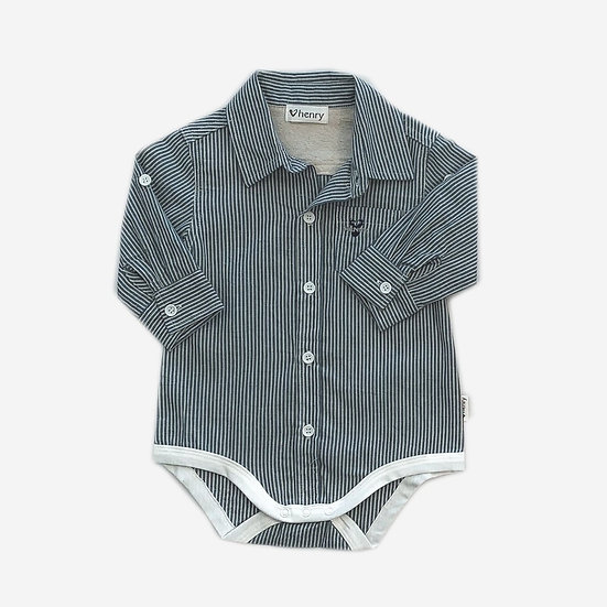 Classic Shirt Romper - Blue