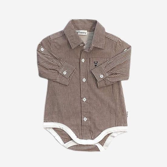 Classic Shirt Romper - Rust