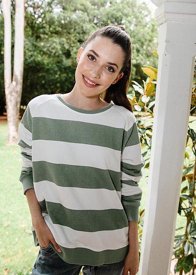 Khaki/White Stripe Sweat Shirt