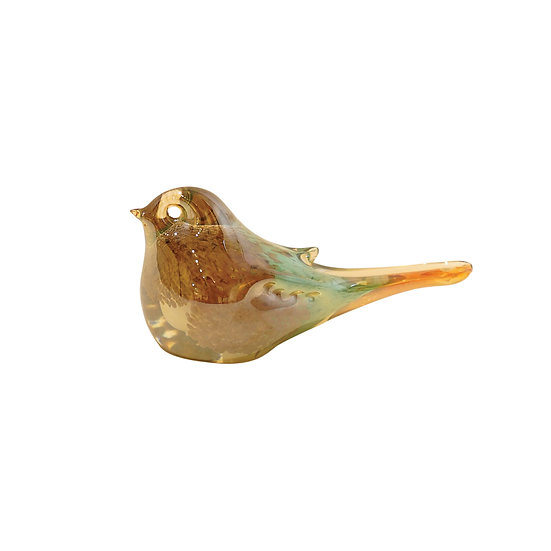 Amy Glass Pink and Green Bird Small