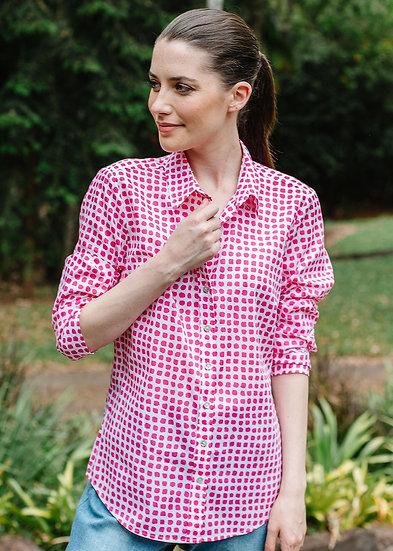 Whit/Hot Pink Spot Shirt