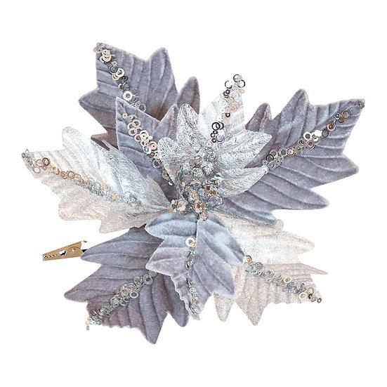 Fabric Clip on Poinsettia Silver Sequin