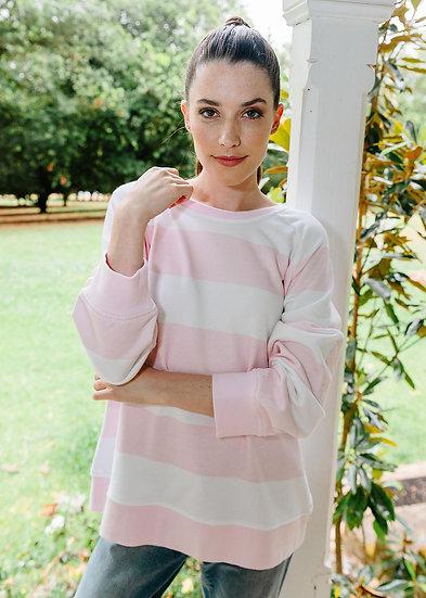 Pale Pink/White Stripe Sweat Shirt