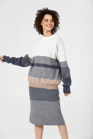 Lost and Found Knit Set - Denim Multi