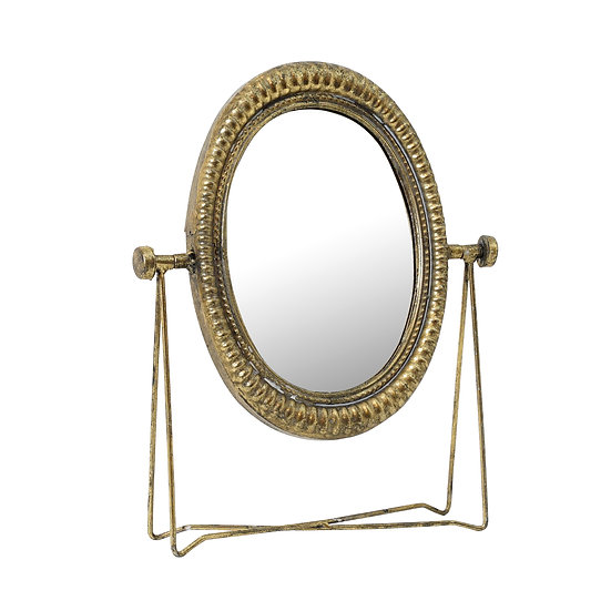 TableMetal Gold Oval Table Mirror