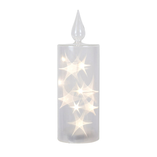 Glass Star Lit Led Pillar Large