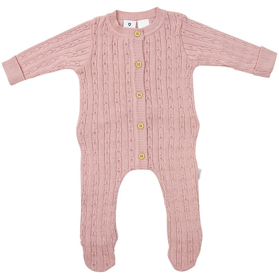 Pink Fine Cable Knit Romper
