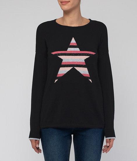 Black Stripe Star Pullover