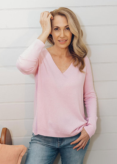 Rose Petal Relaxed V Neck Jumper