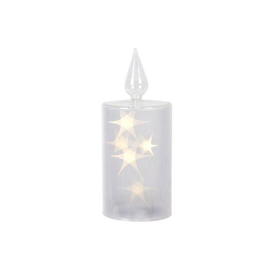 Glass Star Lit Led Pillar Small