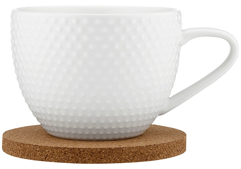 Abode Textured White Mug & Coaster Set