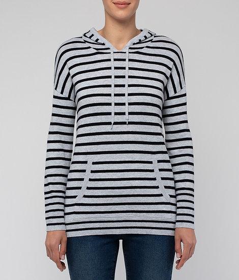 Marl/Black Stripe Hooded Knit