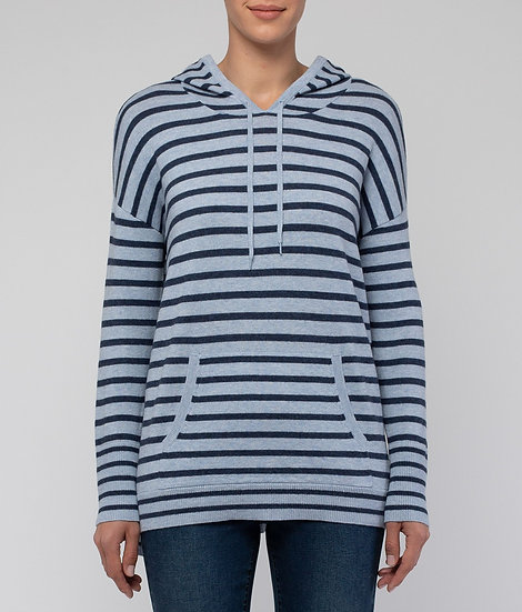 Blue/Indigo Stripe Hooded Knit