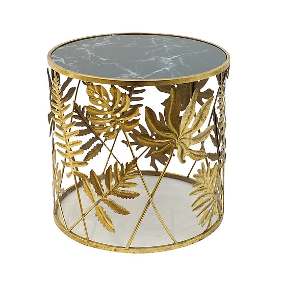Metal Gold & Black Round Table