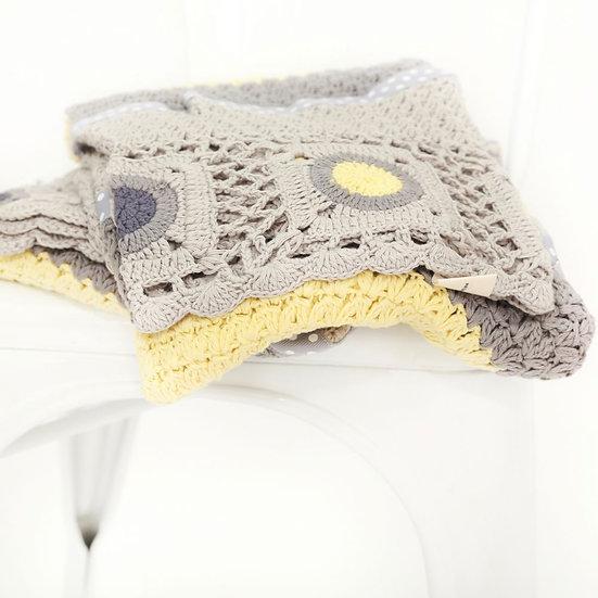 Dusty Grey & Mustard Blanket