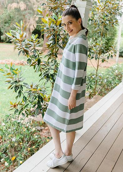 Khaki/White Stripe Dress