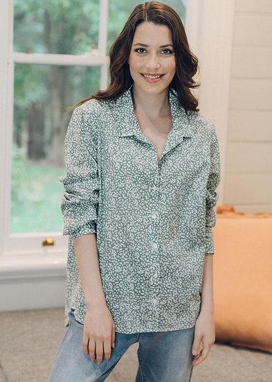 Khaki/White Leaf Print Cotton Shirt