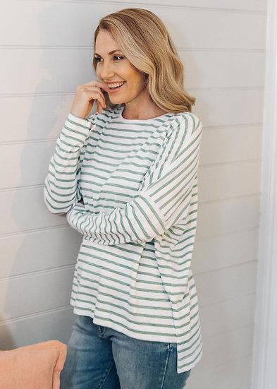 White/Khaki Relaxed Stripe Tee
