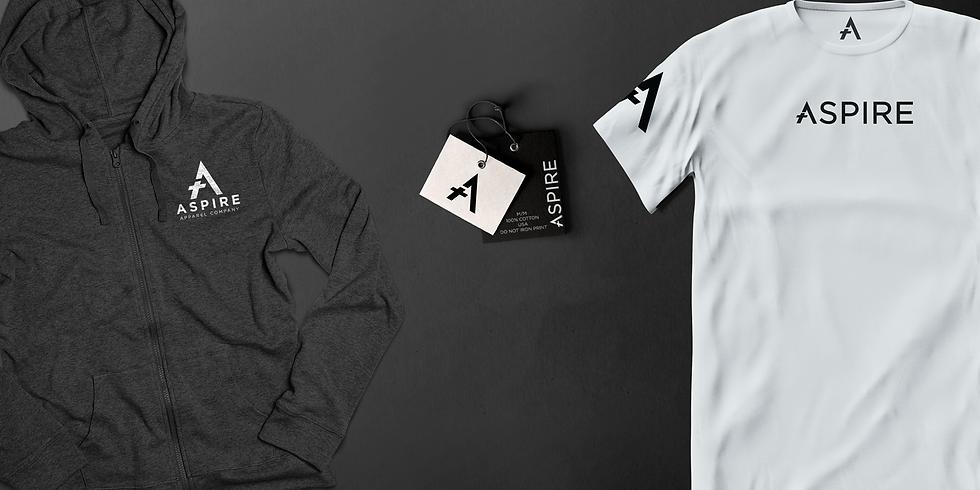 Shirt and Sweatshirt showcasing Aspire Apparels Branding