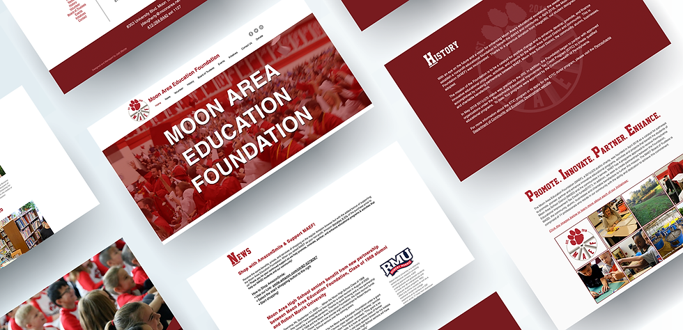 Floating website pages from Moon Area Education Foundation