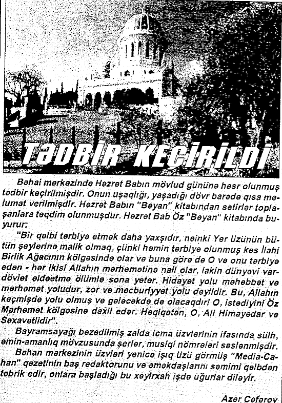 Bəhailər Tədbir Keçirildi