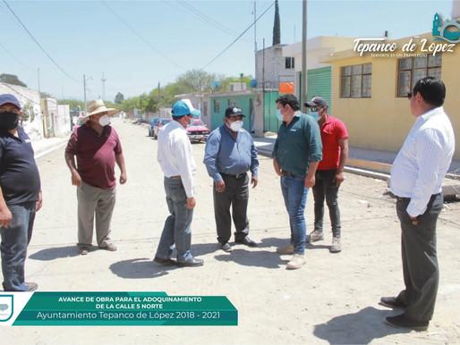 AVANCE DE OBRA PARA EL ADOQUINAMIENTO DE LA C. 5 NTE ENTRE C. 3 OTE Y C. 5 OTE DE LA CABECERA.