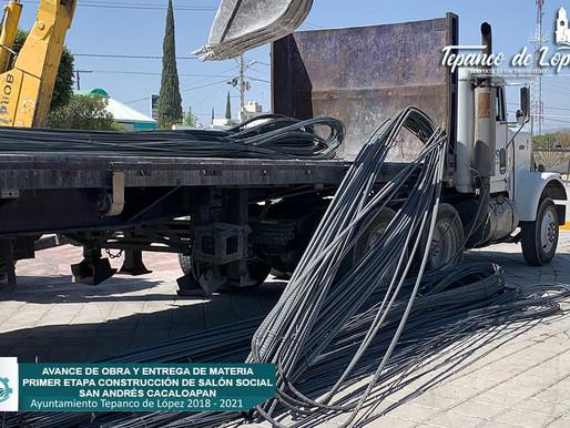 AVANCE DE OBRA Y ENTREGA DE MATERIAL PRIMERA ETAPA EN CONSTRUCCION DE SALON SOCIAL.