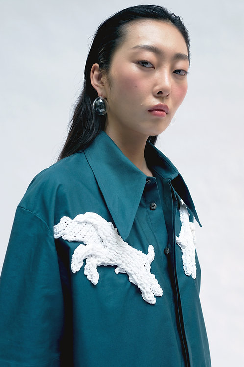 GREEN EMBROIDERED SHORT SLEEVED SHIRT