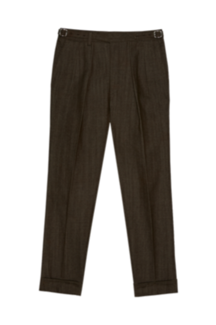 GURKHA DENIM PLEATED TROUSERS