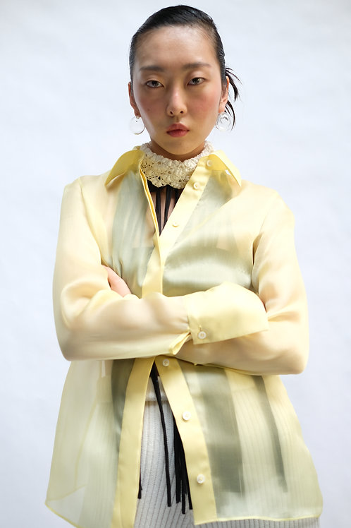 ORGANZA YELLOW SLIM LONG SLEEVES SHIRT