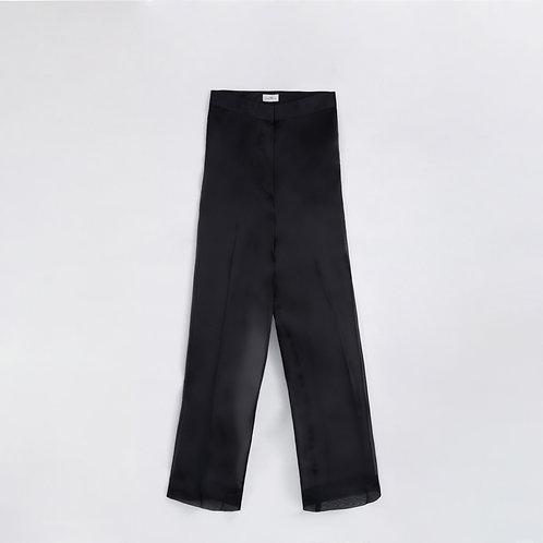 BLACK ORGANZA WIDE LEG PANTAS