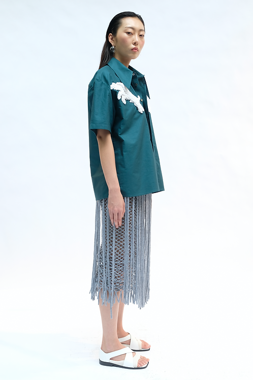 LIGHT GREY HAND-KNOTTED FRINGED SKIRT