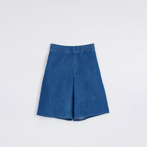 BLUE WIDE LEG DENIM SHORTS