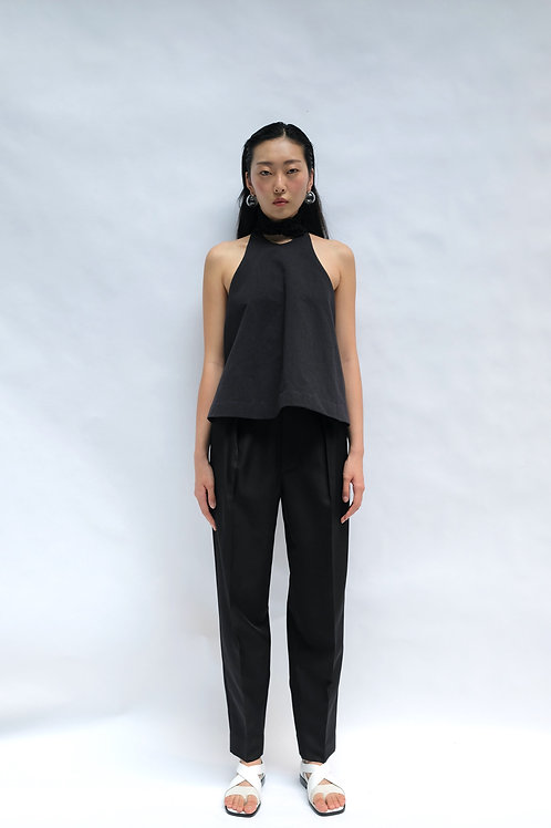 BLACK WIDE LEG PLEATED TAPERED TROUSERS