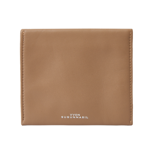 BEIGE CALF LEATHER MINI FLAT CLUTCH