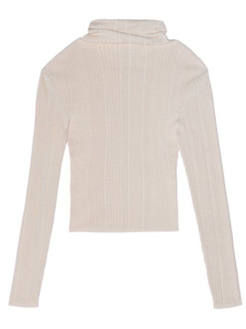 KHAKI KNITTED MOCK NECK L/S TOP