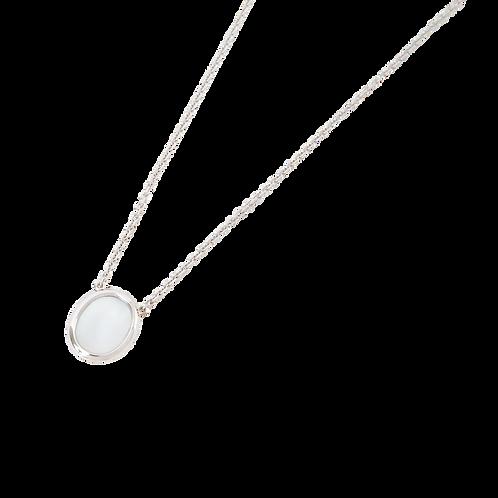WHITE STONE SIGNET NECKLACE