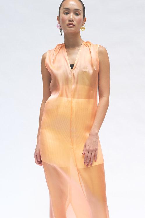 ORANGE ELONGATED SLEEVELESS DRESS