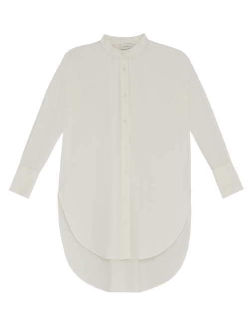 WHITE GATHERED LONG SHIRT